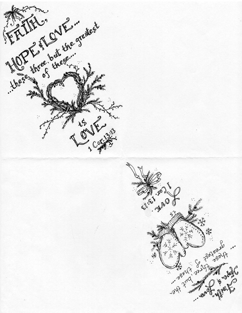 Faith, hope and love sketch for paper cones